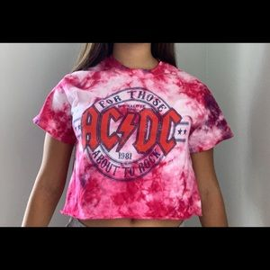 Forever 21 AC/DC Cropped Tie Dye Shirt-Size S
